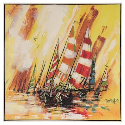 Thomas Lee Mixed Media Painting of Regatta, Late 20th Century