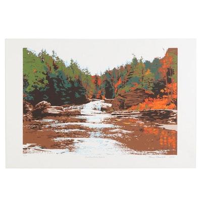 """Thomas Norulak Serigraph """"Swallow Falls Autumn,"""" 2006"""