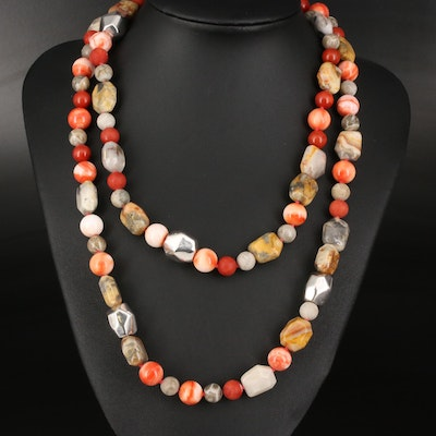 Sterling Jasper, Agate and Coral Bead Necklace
