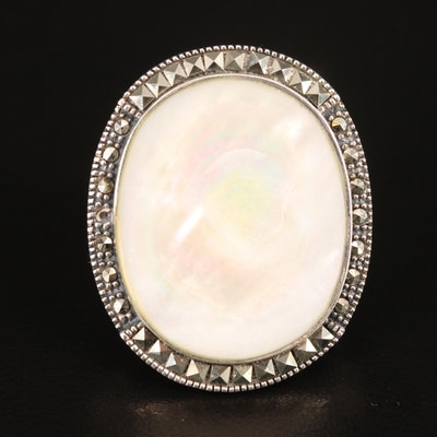 Sterling Silver Mother of Pearl and Hematite Oval Ring