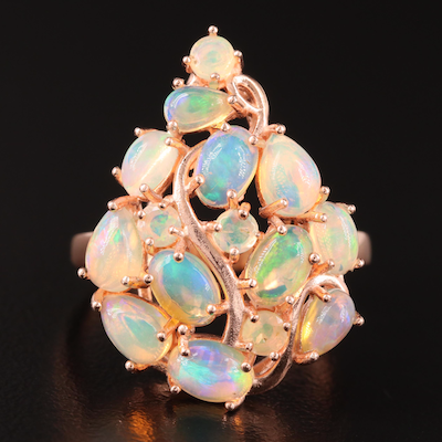 Sterling Opal Cluster Ring