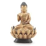 Chinese Gilt Bronze Karana Mudra Seated Buddha
