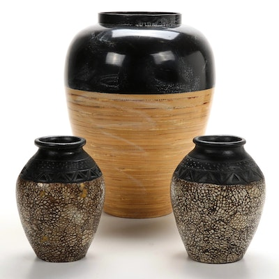 Pair of Clay Vases  with Coordinating Bamboo Floor Vase, Contemporary