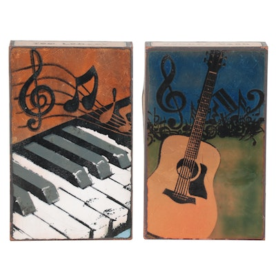 Houston Llew Musical Glass Enamel Paintings on Copper, 21st Century