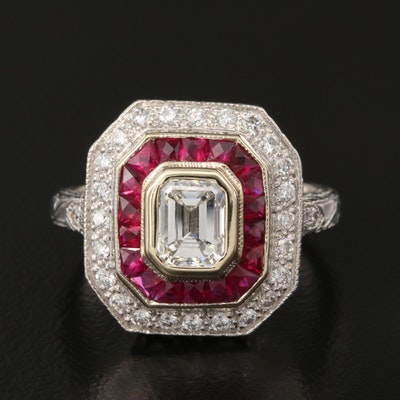 Art Deco Style 18K 1.22 CTW Diamond and Ruby Ring with GIA Dossier