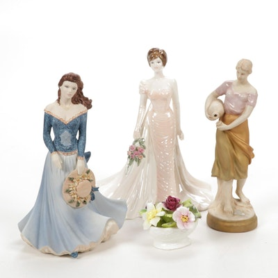 Royal Dux Water Carrier and Coalport Porcelain Figurines, 20th Century