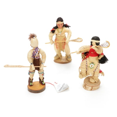 Iroqrafts Kachina Doll with Corn Husk Doll Lacrosse Players