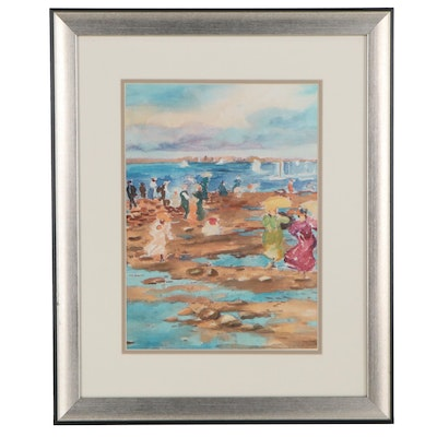 "Offset Lithograph after Maurice Brazil Pendergast ""Summer Visitors"""