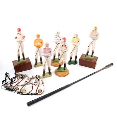 Tom Hannigan Ceramic Jockey Figurines with Authentic Race Crop and Goggles