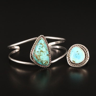 Southwestern Sterling Silver Turquoise Cuff and Ring
