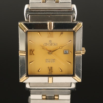 "Croton ""Equator"" 18K Gold and Stainless Steel Quartz Wristwatch"
