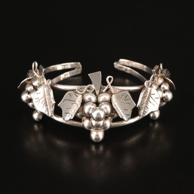 Vintage Mexican Sterling Silver Grape Cluster Cuff