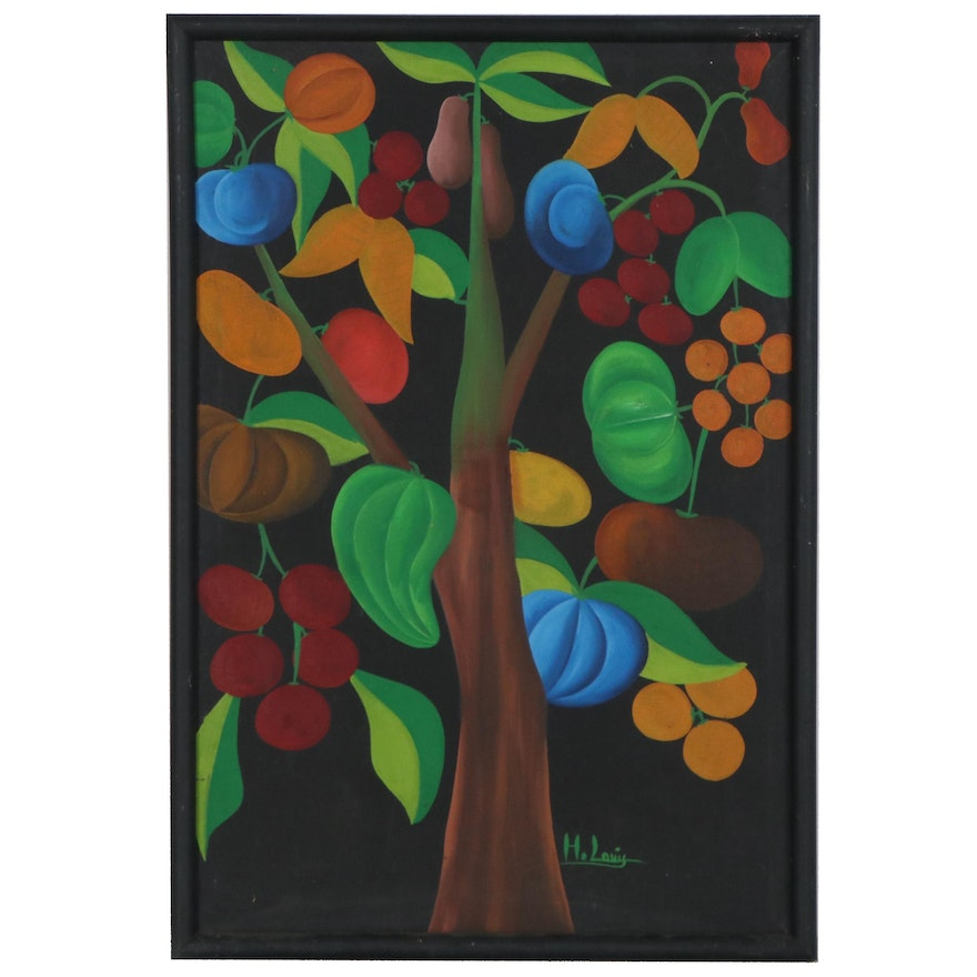 Folk Art Style Oil Painting of Fruit Tree, Late 20th Century