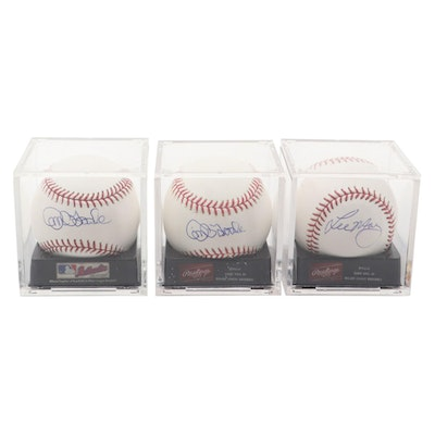 Lee May and Jim O'Toole Signed Rawlings Major League Baseballs in Display Cases