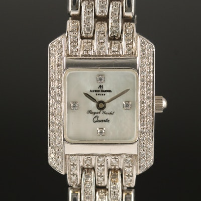 Alfred Hammel 18K White Gold Diamond Quartz Wristwatch