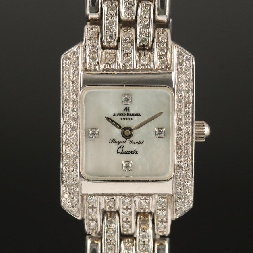 Alfred Hammel 18K White Gold Diamond Quartz Wristwatch