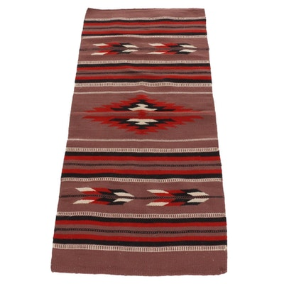 2'6 x 5'4 Handwoven Southwestern Wool Accent Rug, Mid-20th Century
