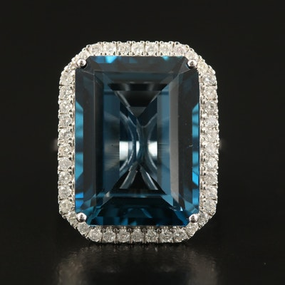 14K 27.33 CT London Blue Topaz and Diamond Halo Statement Ring