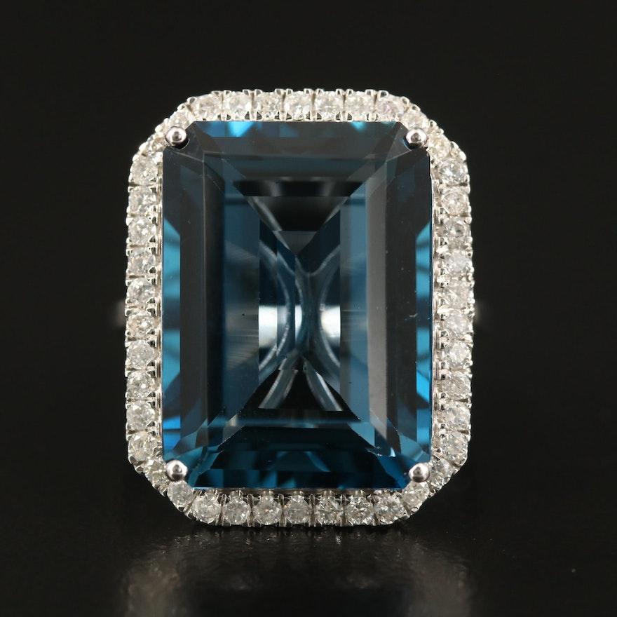 14K 27.33 CT London Blue Topaz and Diamond Halo Statement Ring