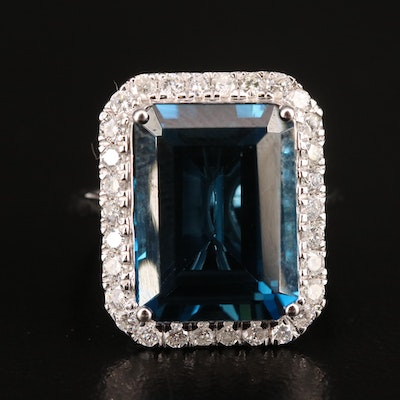 14K 11.80 CTW London Blue Topaz and Diamond Halo Ring