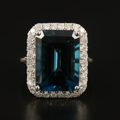 14K 13.88 CT London Blue Topaz and Diamond Halo Statement Ring