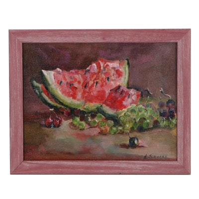 "Larissa Sievers Oil Painting ""Still Life with Watermelon,"" 2021"