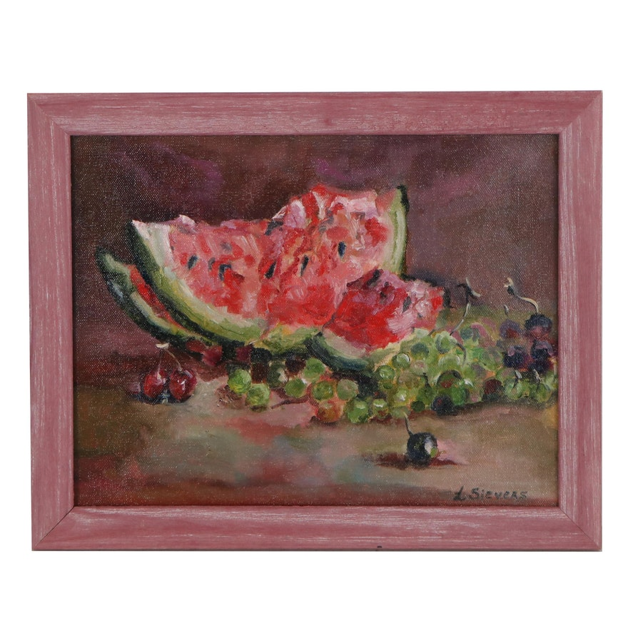 "Larissa Sievers Oil Painting ""Still Life with Watermelon,"" 2021"