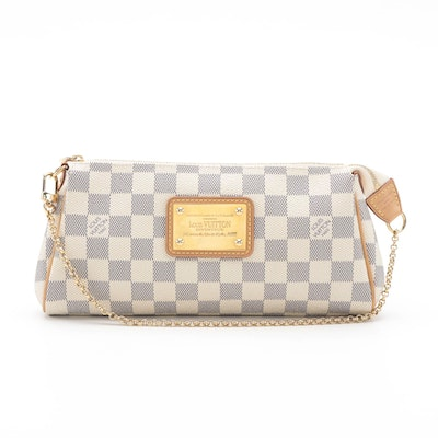 Louis Vuitton Eva Clutch Bag in Damier Azur Canvas with Rolo Link Chain Strap