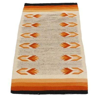 2'11 x 4'11 Handwoven Southwestern Style Wool Rug, Mid-20th Century