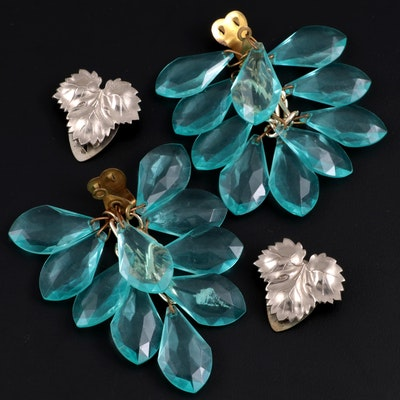 Silver Tone Leaf and Turquoise Teardrop Beaded Shoe Clips