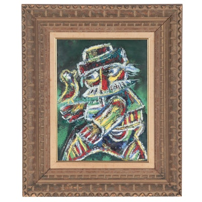 Abstract Figural Enamel Painting, Late 20th Century