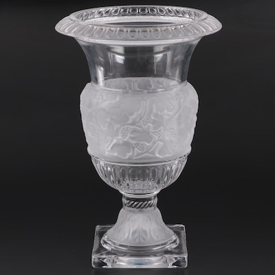 "Godinger ""Athena"" Frosted and Clear Glass Footed Vase"