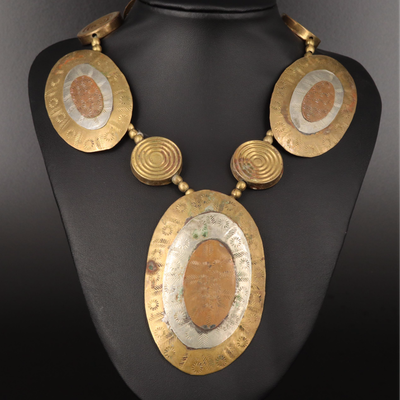 Tri-Color Oval Horn and Wood Necklace