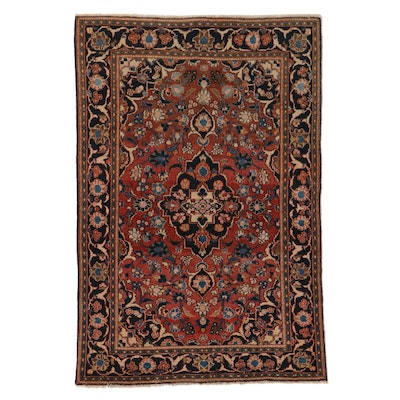 4'3 x 6'5 Hand-Knotted Persian Kashan Area Rug