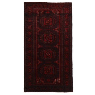 4'3 x 7'10 Hand-Knotted Afghan Turkmen Area Rug