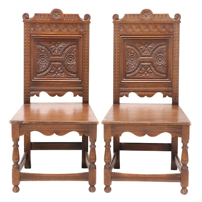 Pair of Jacobean Style Carved Oak Dining Side Chairs, Early 20th Century