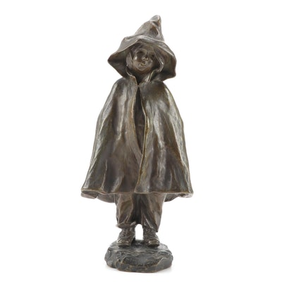 "Bronze Sculpture after Elisa Beetz-Charpentier ""Girl with Hood"""