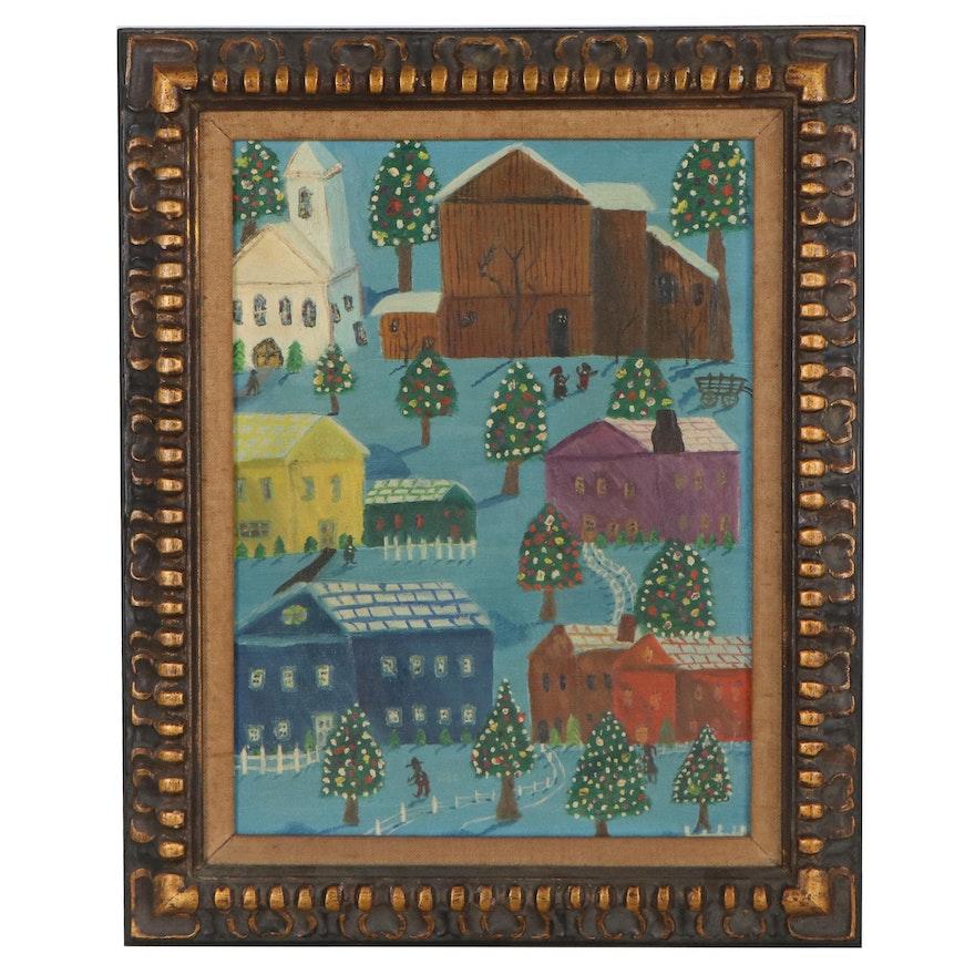 Folk Art Oil Painting of Winter Village, Mid-20th Century