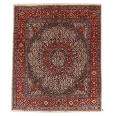6'8 x 7'9 Hand-Knotted Persian Birjand Wool Area Rug