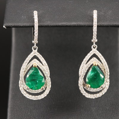 14K 4.02 CTW Emerald and 1.30 CTW Diamond Drop Earrings