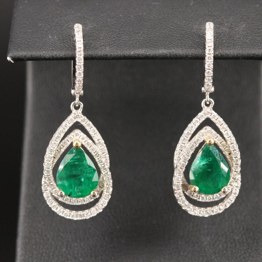 14K 4.02 CTW Emerald and 1.30 CTW Diamond Drop Earrings