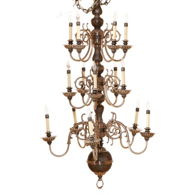 Contemporary Scrolled Brushed Metal 15-Light Chandelier