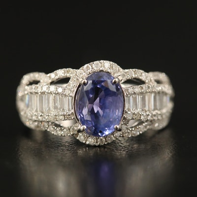 14K 1.72 CT Sapphire and 1.02 CTW Diamond Scalloped Ring