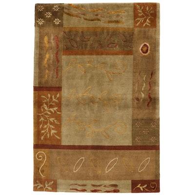 3'11 x 5'10 Hand-Knotted Indian Carved Pile Area Rug