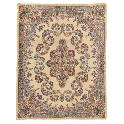 4'9 x 6'1 Hand-Knotted Persian Kerman Area Rug