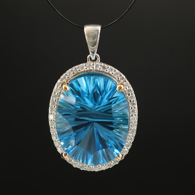 14K Swiss Blue Topaz and Diamond Halo Pendant