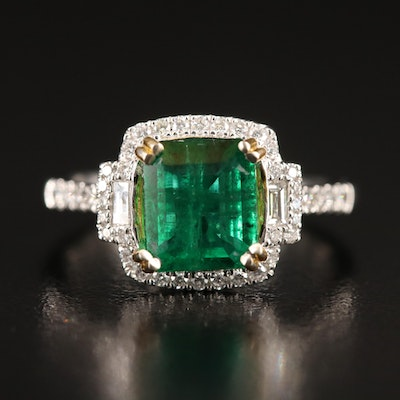 14K 2.04 CT Emerald and Diamond Ring