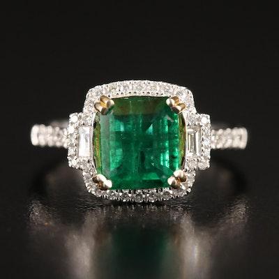 14K 2.04 CT Emerald and Diamond Ring