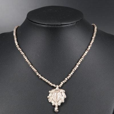 Sterling Silver Lakshmi Paduka Foot Necklace