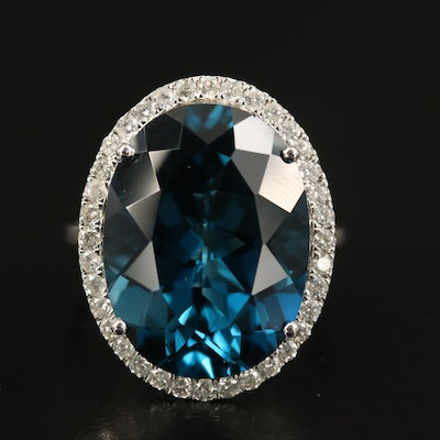 14K 21.16 CT London Blue Topaz and Diamond Halo Statement Ring